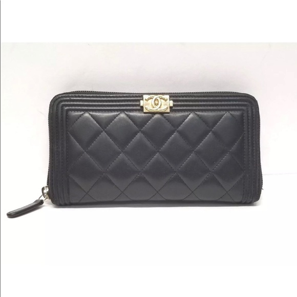 1fd98e8477eb CHANEL Bags | Auth Black Quilted Leather Boy Wallet | Poshmark